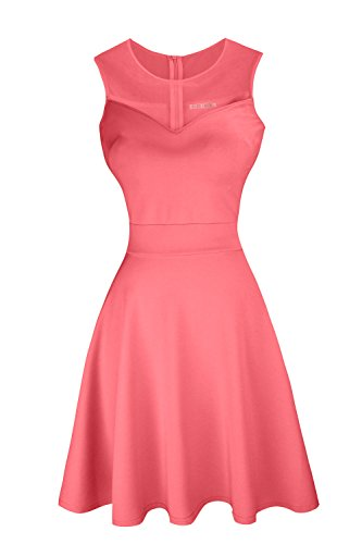 Sylvestidoso Women's A-Line Sleeveless Pleated Little Salmon Cocktail Party Dress (S, -
