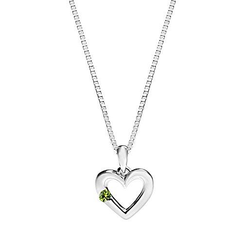 Mini Heart Necklace with 2MM Created Peridot in Rhodium Plated Sterling Silver
