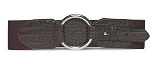 Lauren Ralph Lauren Croc-Embossed Stretch Belt, Brown, XL