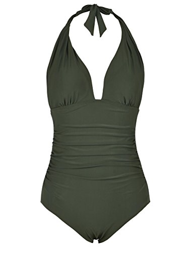 - Firpearl Women's Retro 50s One Piece Swimsuit V Neck Halter Ruched Bathing Suit Deep Green 4