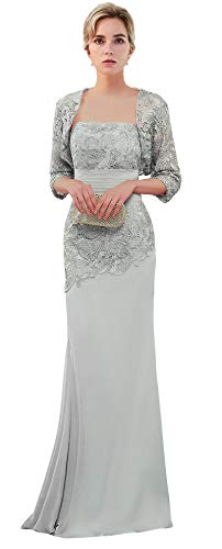 989401efffc VaniaDress Women Long Mother of the Bride Dress with Jacket Formal Gowns  V263LF Silver US14