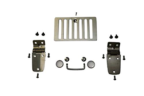 Rampage Products 7465 Stainless Complete Hood Kit (Hood Stops, Hinges, Vent, Footman Loop & Windshield Tie Downs) for 1997-2006 Jeep Wrangler TJ