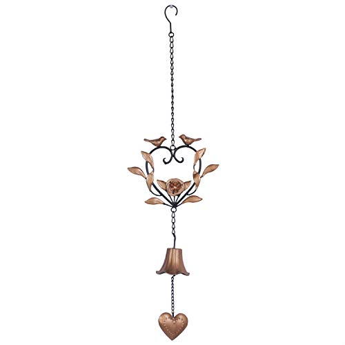 Kleanner Metal Bird Wind Chime, Portable Floral Heart Shaped Wind Bell with Hook and Wave, Decorative Chime with Musical Sound for Garden, Patio, Balcony, Gold