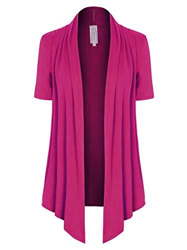 MixMatchy Women's [Made in USA] Solid Jersey Knit Short Sleeve Open Front Draped Cardigan (S-3XL) Magenta - Chiffon Magenta