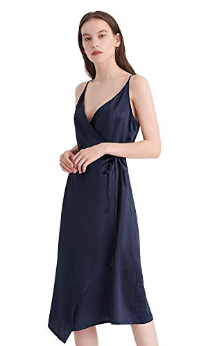 LilySilk Silk Dress for Women Vintage Blue 16MM Sexy V-Neck Wedding Prom Party Summer Tie Waist 12/L