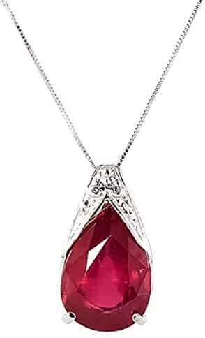 14K Solid Gold Live and Love 5 Carat Natural Ruby Necklace - 4292
