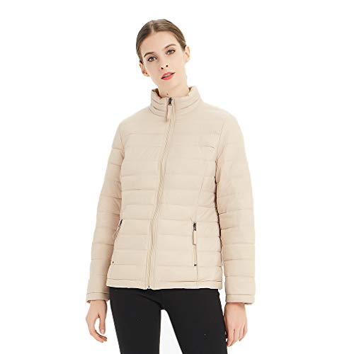 Plusfeel Women's Sportswear Travelling Cycling Outdoor Sports Lightweight Water-Resistant Packable Down Puffer Jacket, Beige, M ()