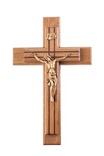 Pastoral Sick Call Set Oak and Walnut Inlay Crucifix with Gold Toned Christ Corpus, 13 Inch