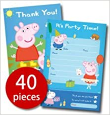 Peppa Pig Party Invitation Thank You Card Set Amazon Co Uk
