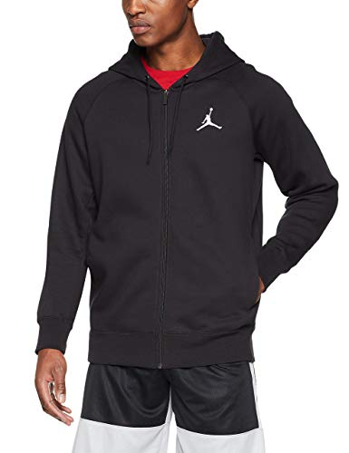 (Jordan Nike Mens Flight Full Zip Hooded Sweatshirt Black/White 823064-010 Size X-Large)