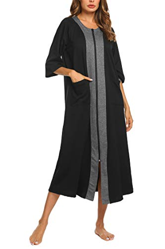 Ekouaer Women's Cotton Nightgowns Plus Size Nightshirt Long Zipper Robe Loungewear (Black,M)