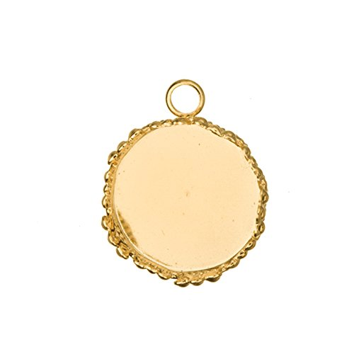 (Gold Round Bezel Cup 14K Gold Finished With Serrated Edge Fits 17mm Cabochons Or Photos Or Flat-Backed Crystal Sold per pkg of)