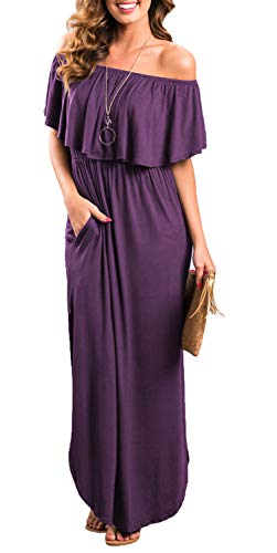 Womens Off The Shoulder Ruffle Party Dresses Side Split Beach Maxi Dress Purple XS ()