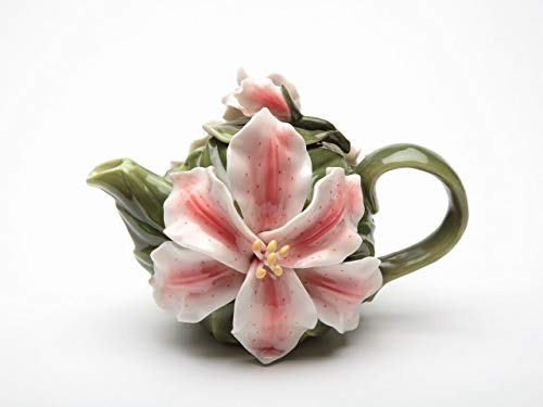 Fine Porcelain Stargazer Lily Flower Teapot, 6 1/4