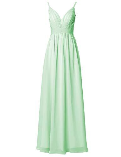 Rückenfrei Brautjungfernkleider Lang Kleider Mint A Damen Ballkleider Chiffon Hochzeit V Abendkleider Ausschnitt Linie pdqWwfxF