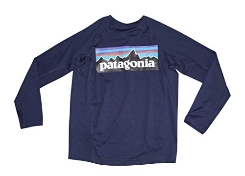 Patagonia Boy's L/S Silkweight Rashguard Shirt (Child X-Small 5-6) Navy Blue Rash Guard patagonia rash guard 5
