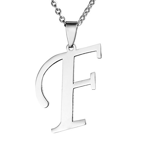 Valyria Mens Womens Stainless Steel Alphabet Initial Letters Pendant Necklace,Letter F (Stainless Pendant Collection Steel)