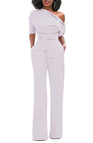 Jumpsuit Women's White (ONLYSHE Womens Sexy Half Sleeve One Shoulder Tied Waist Party Clubwear Jumpsuit Rompers White X-Large)
