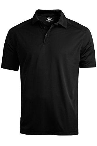 Edwards Garment Mens Double Needle Button Sports Polo Shirts, Black, 4XLT (Parks And Recreation Polo)