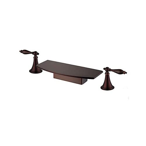 W&P Contemporary Widespread Waterfall Widespread with Ceramic Valve Two Handles Three Holes for Oil-rubbed Bronze , Bathroom Sink Faucet 85%OFF