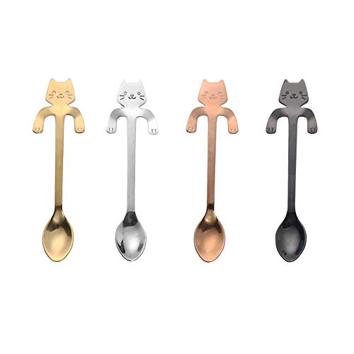 ZBGOROW 4-piece Durable 18/8 Stainless Steel Spoons - Cute Cat Spoon Set for Dessert and Coffee - Multi-purpose Mirror Finish Spoons - Set of 4 in 4 Assorted Colors, 4.5 -