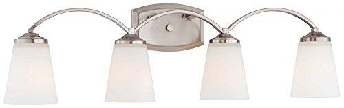 ght Fixtures 6964-84 Overland Park Glass Bath Vanity Lighting, 4 Light, Nickel (Vista 4 Light Bath)
