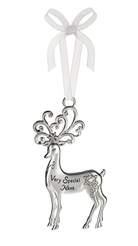 Very Special Nana Silver Reindeer Zinc Epoxy Glass Christmas Ornament
