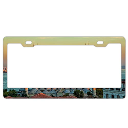 - EXMENI Sultan Ahmed Mosque Turkey Istanbul Sunrise Gloss License Plate Frame Powder Coated Premium Aluminum Meta 2 Hole Bracket Anti-Theft Model