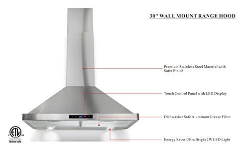 Winflo 30'' Wall Mount Stainless Steel Convertible Kitchen Range Hood with 450 CFM Air Flow, Touch Control, Aluminum Filters and LED Lights by Winflo (Image #2)