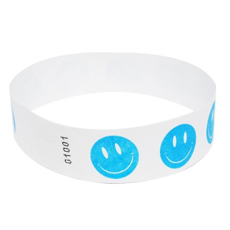 EventWristbands Premium Tyvek Wristbands With Designs (100 Count, Blue, Happy Face) - Zigzag, Checker, Happy Face, Stars & Stripes Neon Event Wristband Paper Bracelets For Festivals