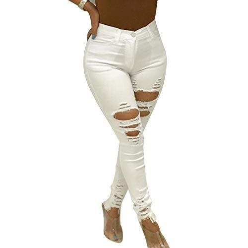 Di Con Inlefen Vita Forma Tasca Da Skinny Bordi Caviglia Jeans Elastico Ginocchio Elasticizzato Afflosciata Arricciati A Alta Casual Donna Bianco nTT8O