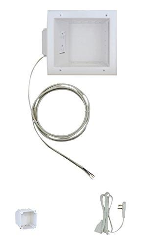 Datacomm Electronics Recessed TV Cable & Media Organizer Kit, Duplex Power Receptacle, white (50-6653-WH-KIT) (Tv 50 White)