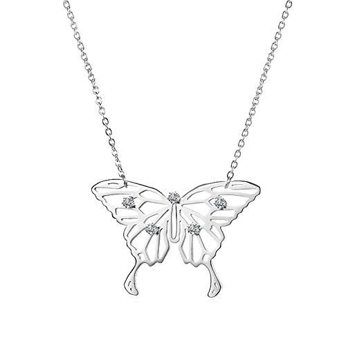 - Plus Size Elegant Silver Gold Color Butterfly Stainless Steel Jewelry Pendant Necklace for Women,silver color