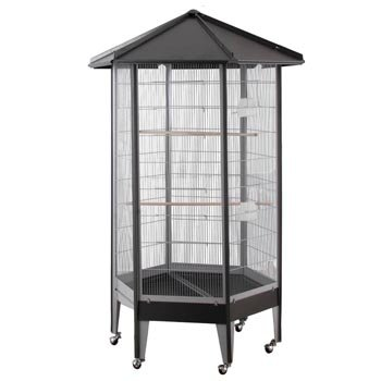 61818 HQ Large Parrot Aviary Cage 36″ x 31″ x 68″ – Black, My Pet Supplies