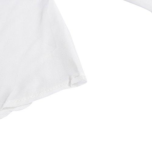 Beauty7 Camisetas Mujeres Gasa V-Cuello Profundo Cremallera Casual Loose Hollowed Out Hombro Hueco Manga Larga Top Flexible Camisas Verano Blusa T-shirt Negro Verde Rosa Blanco Rojo Vino Amarillo Blanco