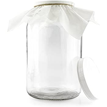 1 Gallon Glass Kombucha Jar w/ Cotton Cloth Cover & Plastic Lid for Storage after Brewing