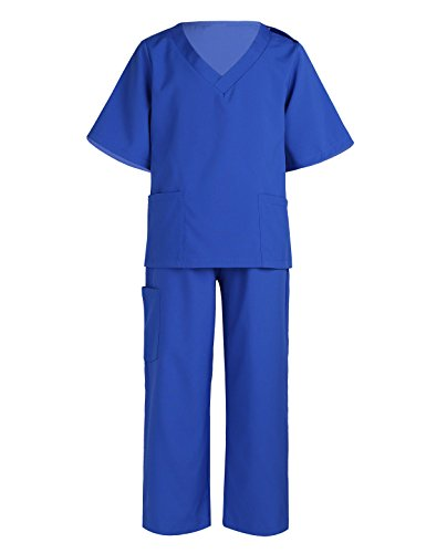 YiZYiF Children Doctor Surgeon Costumes Toddler Kids Doctor Scrub's Pretend Play Outfit for Halloween or Dress-up #2 Royal Blue 7-8 -