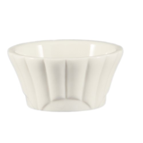 Cac China Accessories (CAC China Accessories 3-1/2-Inch by 1-1/2-Inch 4-Ounce Super White Porcelain Floral Ramekin, Box of 48)