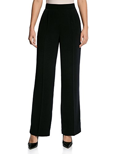 oodji Collection Mujer Pantalones Anchos de Tejido Fluido Negro (7900N)