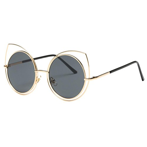 Lunettes de soleil,LHWY Outdoor Sports verres rond carré Vintage en miroir lunettes de soleil (Or, C)