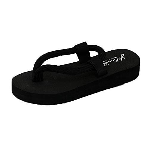 (2Dxuixsh Cool Flip-Flops Slippery Straps Pinch Beach Shoes Muffin Wedges Comfortable Slippers Black)