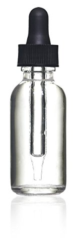 1 Oz (30 Ml) Clear Boston Round Glass Bottle w/ Glass Dropper - Pack of 12 ()
