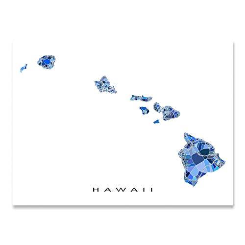 Hawaii Map Print, HI State Wall Art, Hawaiian Islands, Blue