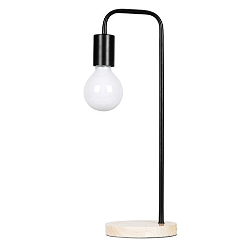 Baoduohui Metal table lamp, oak base decoration table lamp, bedroom bedside desk lamp, simple metal plug desk lamp, interface E27 black