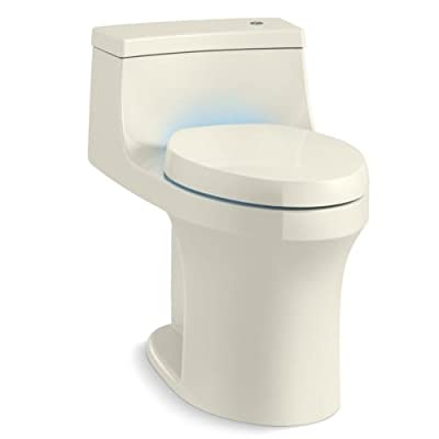 KOHLER K-8687-0 San Souci Touchless Comfort Height 1.28 Gpf Compact Elongated Toilet with Aquapiston Flush Technology and Purefresh Seat