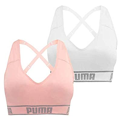 PUMA Women's Seamless Sports Bra Removable Cups - Adjustable Straps Moisture Wicking (2 Pack): Clothing
