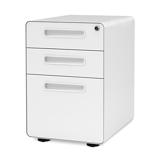 DEVAISE 3-Drawer Mobile File Cabinet with Anti-tilt Mechanism,Legal/Letter Size (White) by DEVAISE