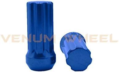 Venum ホイールアクセサリー 20個 ブルー 14x2.0 スプラインラグナット 2000-2002 フォード エクスペディション F150 (5ラグモデル) ロックキーソケット2個付き