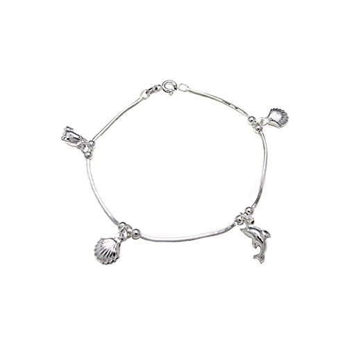 (Italian Sterling Silver Diamond Cut Snake Chain with Dolphin and Sea Shells Charm Bracelet)