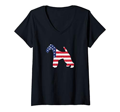 Womens Wire Fox Terrier American Flag 4th Of July Dog V-Neck T-Shirt